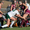 Nashoba Regional High School field hockey played Algonquin Regional High School on Saturday, Nov. 9, 2019 for the Central Mass. Division 1 championship. NRHS's #5 Kira Spedden and on right is ARHS's #4 Lynda Alford. SENTINEL & ENTERPRISE/JOHN LOVE