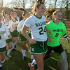 Nashoba Regional High School field hockey played Algonquin Regional High School on Saturday, Nov. 9, 2019 for the Central Mass. Division 1 championship. NRHS player rush to get their trophy. SENTINEL & ENTERPRISE/JOHN LOVE
