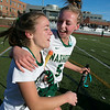 Nashoba Regional High School field hockey played Algonquin Regional High School on Saturday, Nov. 9, 2019 for the Central Mass. Division 1 championship.NRHS's #3 Madeline Zacchini and #5 Kira Spedden hug after their win. SENTINEL & ENTERPRISE/JOHN LOVE