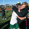 Nashoba Regional High School field hockey played Algonquin Regional High School on Saturday, Nov. 9, 2019 for the Central Mass. Division 1 championship. NRHS's Head Coach Jamie Mariani give player #2 LeLa Boermeester a hug after their win. SENTINEL & ENTERPRISE/JOHN LOVE
