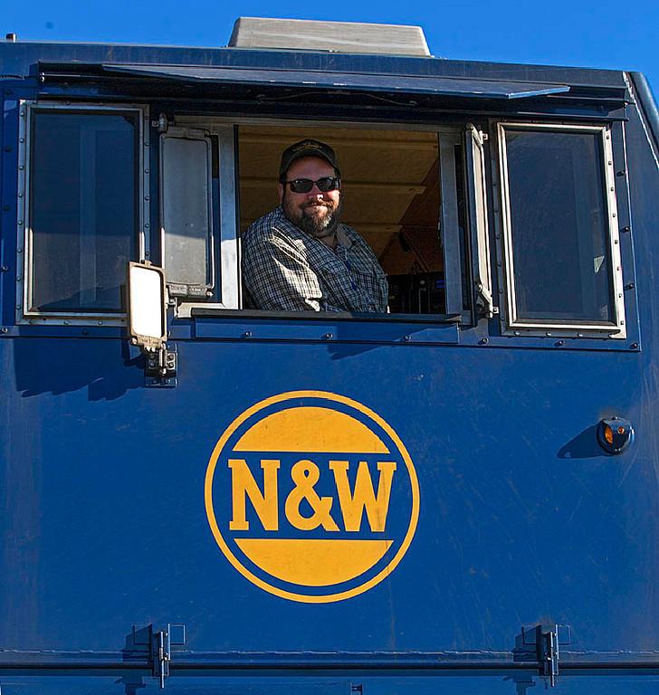 Norfolk & Western Ry Heritage motor NS 8103 on the Winston-Salem Southbound Ry in Winston-Salem,NC.