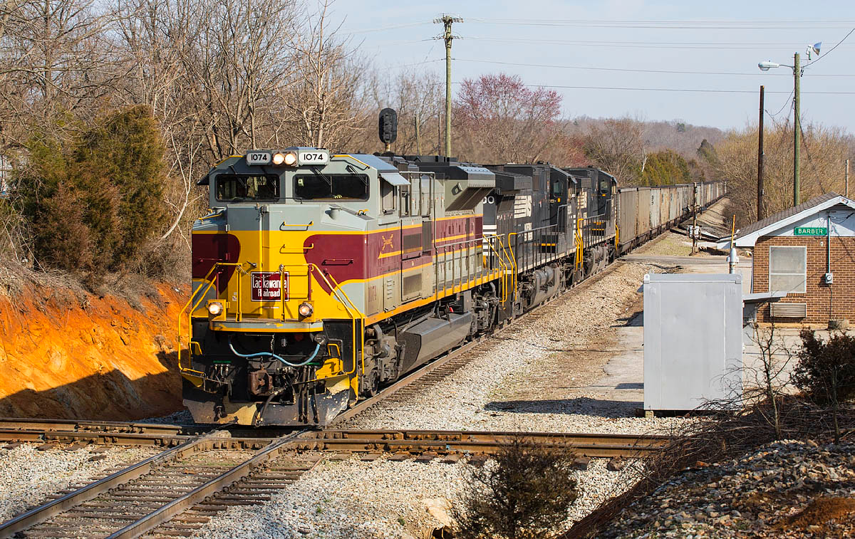 NS train 749 westbound at Barber,NC 3/2/14.