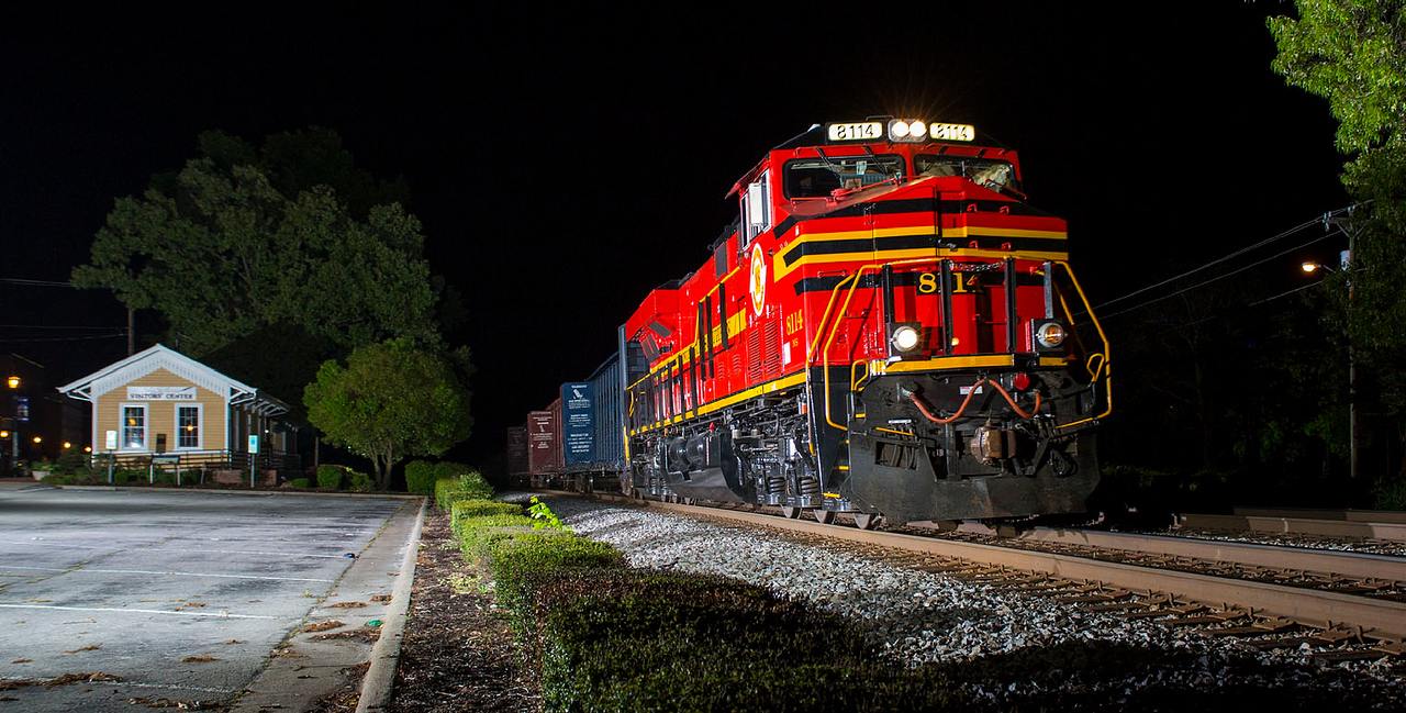 Norfolk Southern Railway Heritage motor #8114 leading NS train 351 at Thomasville,NC 4/30/14.