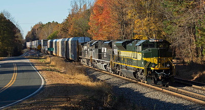 NS #1068 Erie RR Heritage Motor leads train 214 down Yadkin Hill north of Spencer,NC.