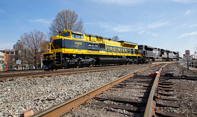 Virginian RR Heritage motor NS 1069 leading NS intermodal train 218 thru downtown Greensboro,NC.