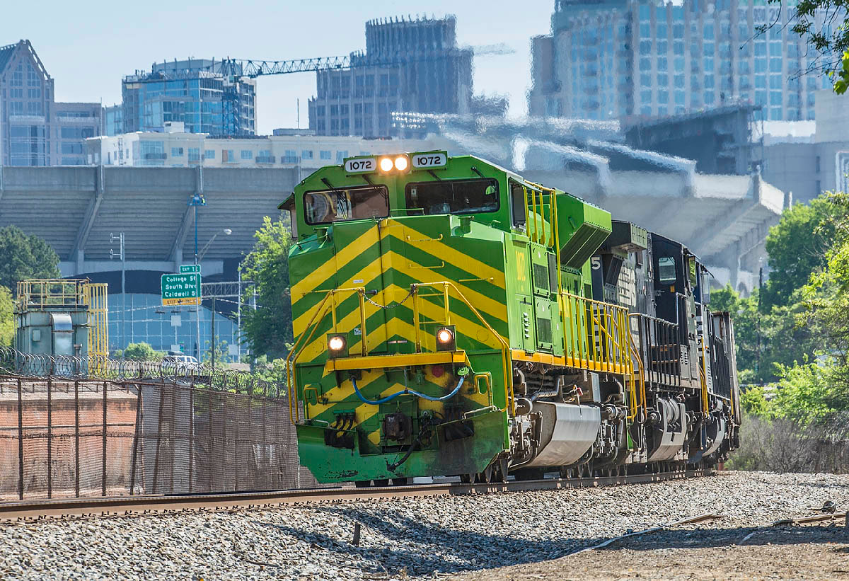 Illinois terminal RR Heritage Motor #1072 leads NS coal train 750 at Charlotte,NC 4/26/14