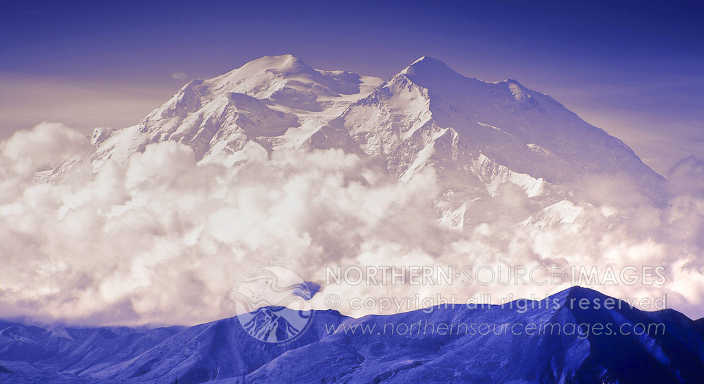"""PURPLE DENALI: """"The Great One"""" Denali or Mt McKinley as it is know here in Alaska, wrapped in a scarf of clouds."""