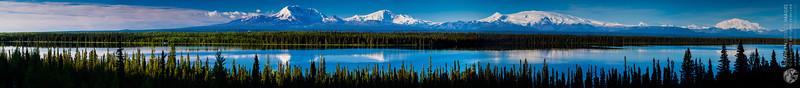 Willow Lake with Mt Drum (12,010 feet), Mt Sanford (16,237 feet), Mt Wrangell (14,163 feet), and Mt Blackburn (16,390 feet)
