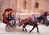 In the Siq, with steeply rising walls of sandstone. The Siq is the principal route into Petra itself. The horse drawn cart carries tourists up and down the Wadi Musa (The Valley of Moses), and the Siq, the principal route into Petra itself, to the entrance of Petra at the end of the Siq.