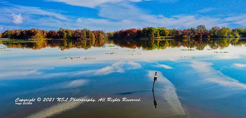 John Heinz National Wildlife Refuge at Tinicum impoundment pond in fall.