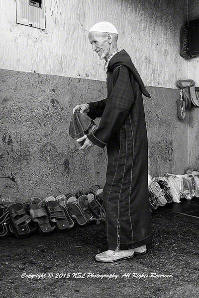 Sandals merchant in the Medina and Kasbah in Rabat-Sale
