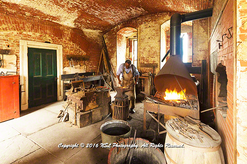 The Blacksmith at Fort Delaware, built in 1846-1868 as a harbor defense facility which acted as a prison during the Civil War.