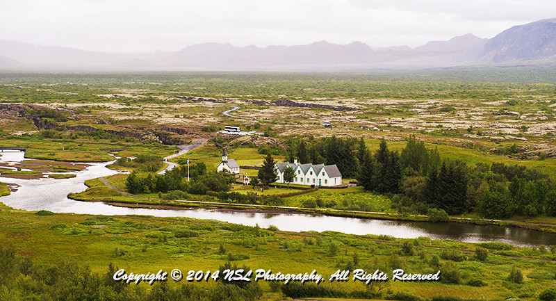 Valley below Lögberg, or Law Rock, the location for the assembly of the country's Althing parliament in Þingvellir National Park, Iceland