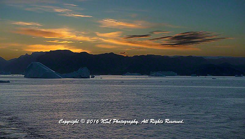 Ofjord Fjord at Midnight, Scoresby Sund, Greenland