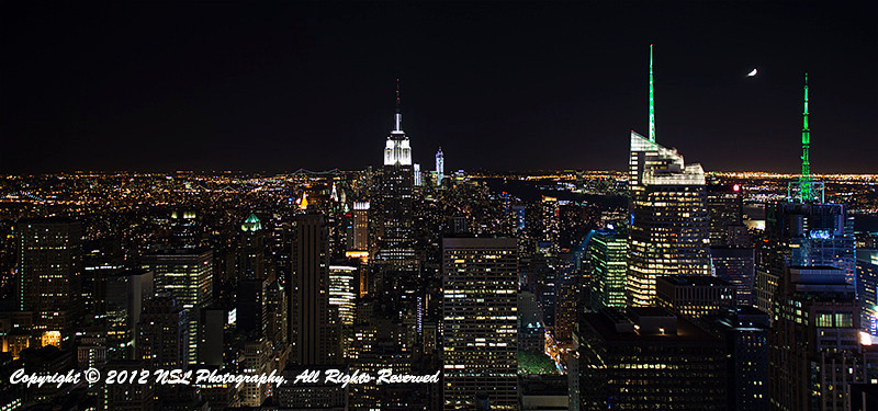 New York City skyline with Empire State Building in center, taken from the Top of the Rock