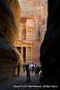 "Looking through the end of the Siq at Al Khazneh, known to most people as ""The Treasury"" at the archaeological city of Petra, in the Jordanian governorate of Ma'an"