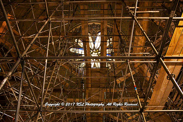 Looking through the scaffolding in the Rodeph Shalom sanctuary during restoration