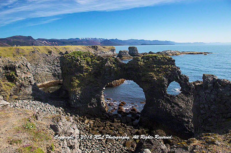 The coast of Arnarstapi, a small fishing village at the foot of Mt. Stapafell on the southern side of Snæfellsnes, Iceland was an important trading post in the history of Iceland.