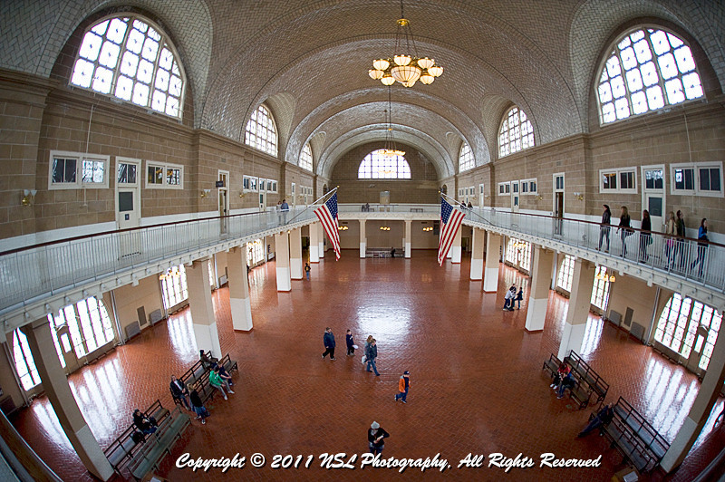 The Great Hall of the Main Hall on Ellis Island which was a large waiting room where immigrants waited for their interviews with legal inspectors after finishing their medical exams