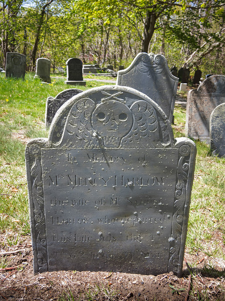 In Memory of | Mrs. Mercy Harlow | the wife of Mr. Samuel | Harlow who departed | this Life July the 4th | 1762, In the 34th Year | of her Age
