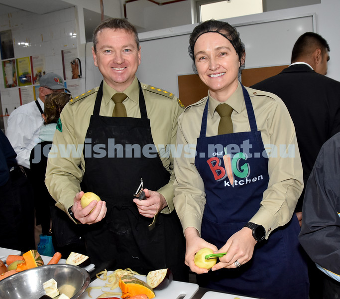 Morning of Giving at OBK. Steve Boyd (left), Kimberlea Juchniewicz. Pic Noel Kessel