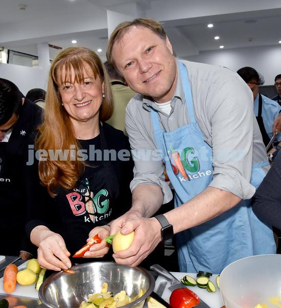 Morning of Giving at OBK. Toni Zeltzer (left), Leon Goltsman. Pic Noel Kessel