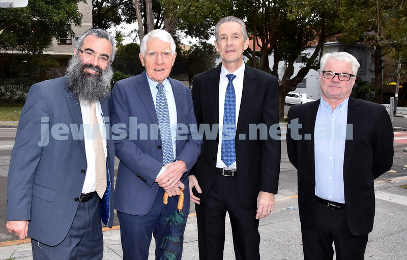 Morning of Giving at OBK. From left: Rabbi Dovid Slavin, David Kirby, Richard Andrews, Barry Groom. Pic Noel Kessel