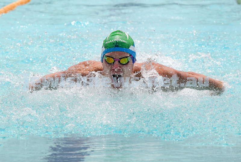 2017 Jewish Swimming Championships at Des Renford Pool. Josh Zwi in the 100m Butterfly. Pic Noel Kessel
