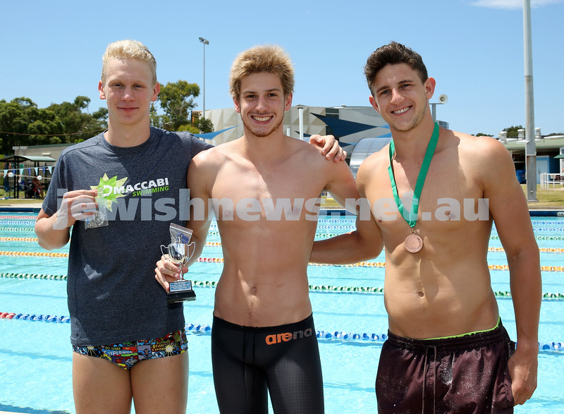 Maccabi Jewish Swimming Championships. Winners of The AJN Cup in 100m Freestyle. (from left) Joshua Zwi 2nd, Joshua Blumberg 1st, Kyron Israelsohn 3rd. Pic Noel Kessel.