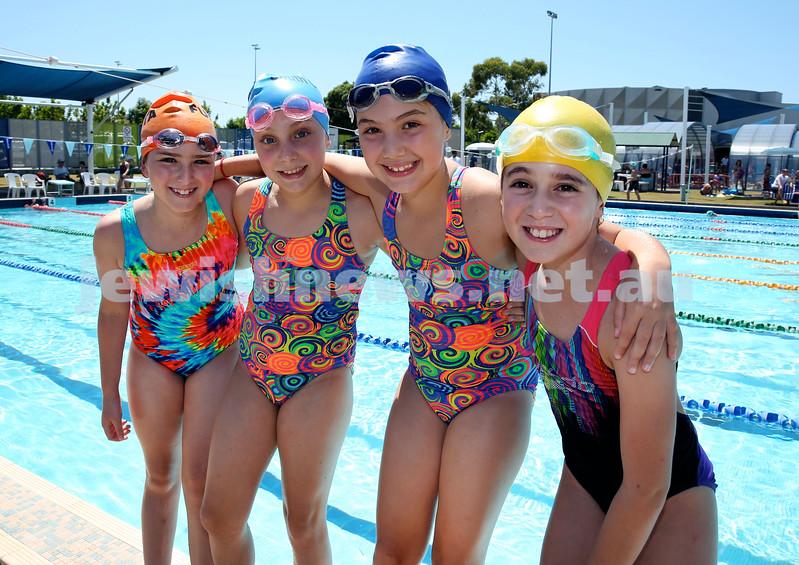 Maccabi Jewish Swimming Championships. L-R: Jenna Marks, Dani Hayim, Liat Hayim, Ruthie Durbach. Pic Noel Kessel.