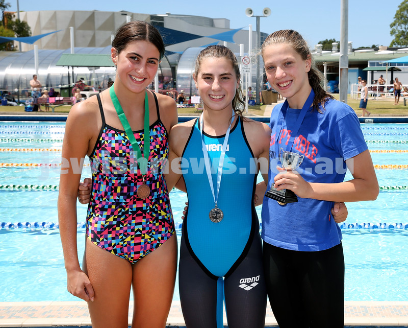 Maccabi Jewish Swimming Championships. Winners of the Girls 100m Freestyle and winner of the AJN Cup. (from left) Laila Reuven 3rd, Brooke Roseman 2nd, Maya Murphy 1st. Pic Noel Kessel.