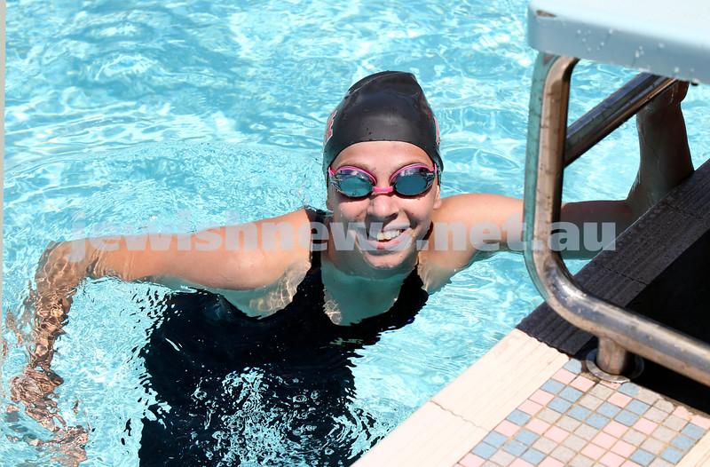 Maccabi Jewish Swimming Championships. Maya Murphy after winning the AJN cup in the 100m Womens Freestyle. Pic Noel Kessel.