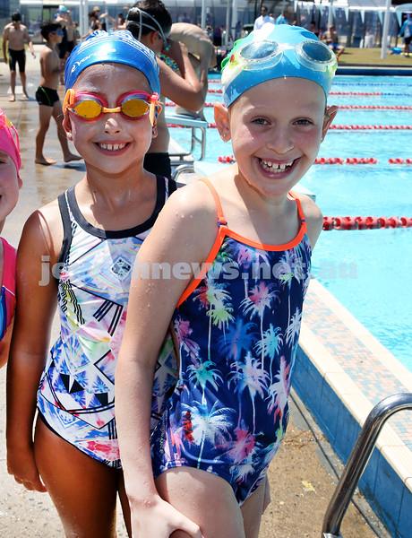 Maccabi Jewish Swimming Championships. L-R Jasmine Melinkoff, Eliora Glass .Pic Noel Kessel.