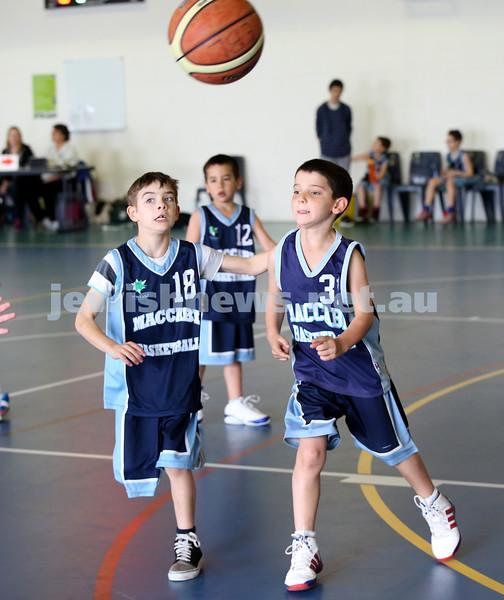 Maccabi vs Bronte Bulls U8 Basketball. Jed Miller & Sam Greenberg with ball as Dean Stein guards behind