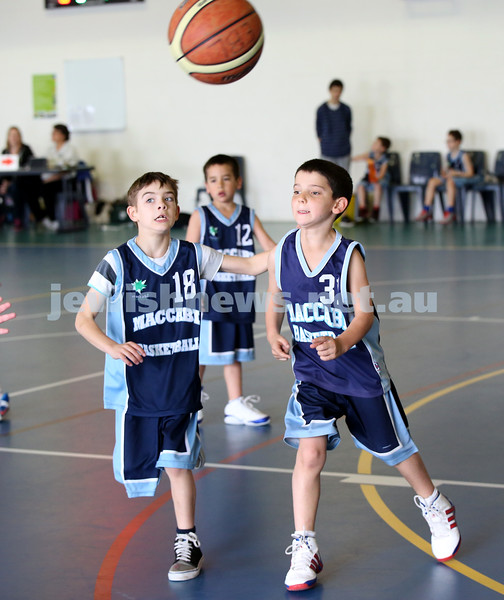 Maccabi vs Bronte Bulls U8 Basketball. Jed Miller & Sam Greenberg with ball as Dean Stein guards behind