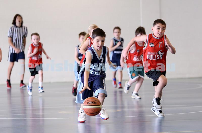 Maccabi vs Bronte Bulls U8 Basketball. Sam Greenberg with the ball