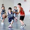 Maccabi vs Bronte Bulls U8 Basketball. Sam Greenberg with the ball, Dean stein behind (L)
