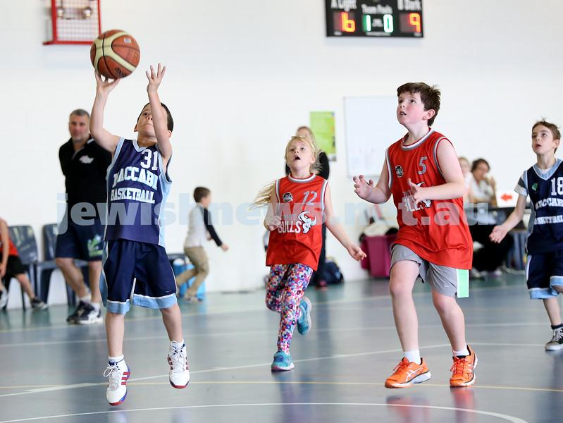 Maccabi vs Bronte Bulls U8 Basketball. Sam Greenberg shoots a basket.
