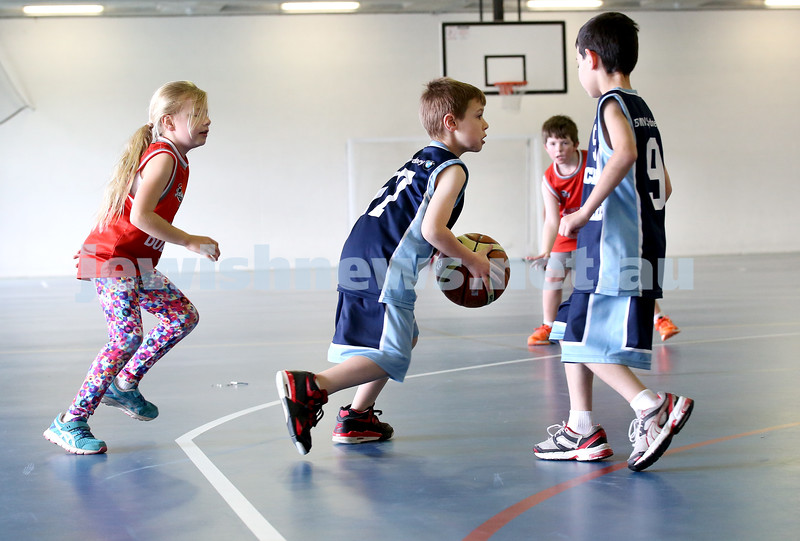 Maccabi vs Bronte Bulls U8 Basketball. Jesse Geller with the ball and Coby Sher on Right.
