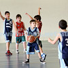 Maccabi vs Bronte Bulls U8 Basketball. Jed Miller about to pass to Sam Greenberg as Adiel Goldberg stands behind.