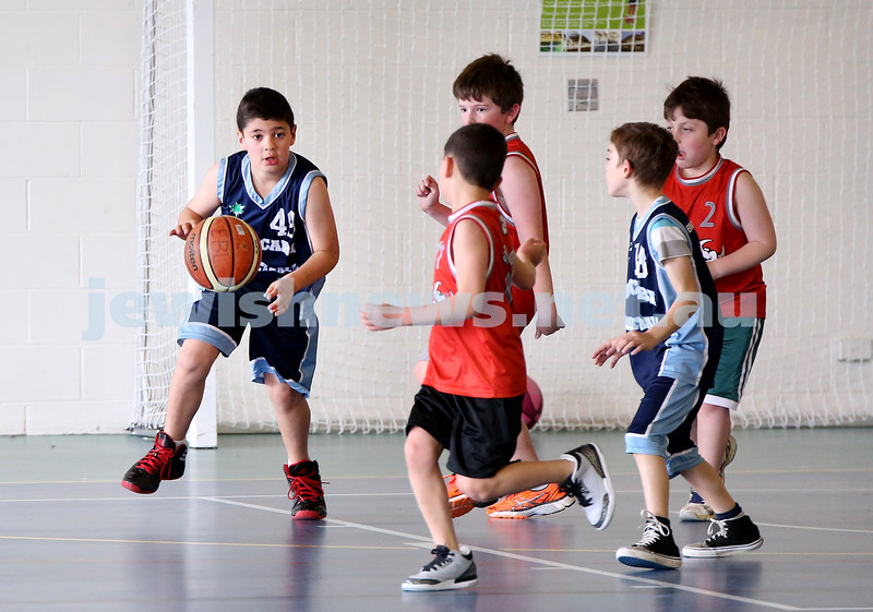 Maccabi vs Bronte Bulls U8 Basketball. Adiel Goldberg with the ball