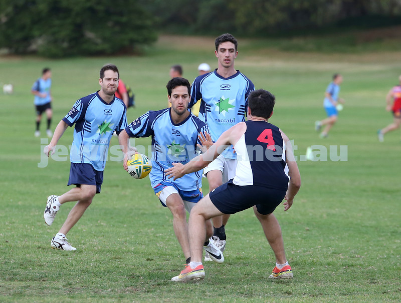 Touch Footy at Queens Park.  Maccabi Mataroa vs Kings Poker. Ben Kochan with the ball races towards the tryline followed closely by Daniel Kochan (L) & Michael Roth (R).