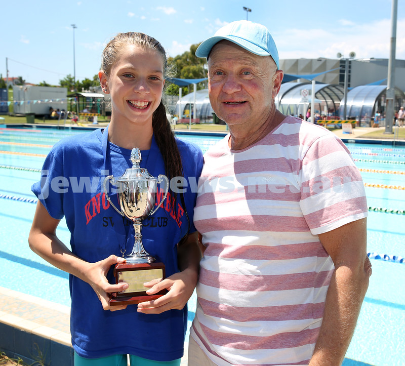 Jewish Swimming Championships held at Des Renford Pool in Maroubra. Tom York presents maya Murphy with the AJN women's 100m open Freestyle trophy.