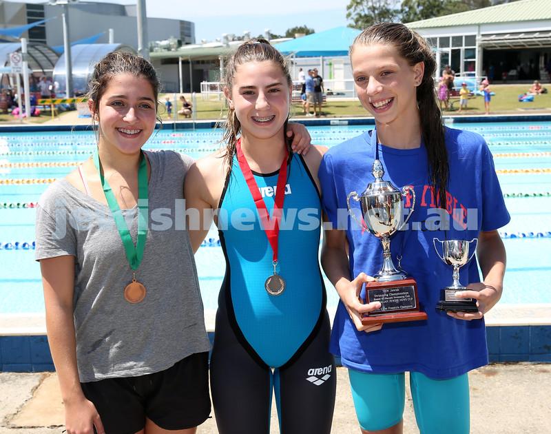 Jewish Swimming Championships held at Des Renford Pool in Maroubra. Mikaela Rifkin, Brooke Roseman, Maya Murphy.