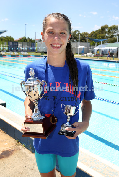 Jewish Swimming Championships held at Des Renford Pool in Maroubra. Maya Murphy who won the AJN 100m womens open freestyle race.