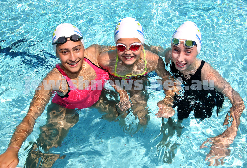 Jewish Swimming Championships held at Des Renford Pool in Maroubra. Hannah Balkin, Hannah Pajor, Gabi Goodrich.