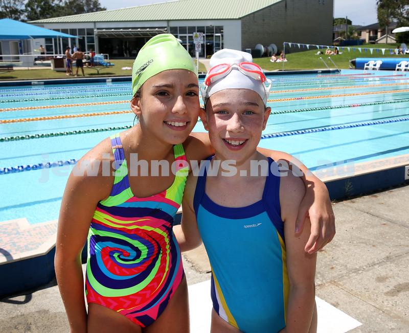 Jewish Swimming Championships held at Des Renford Pool in Maroubra. Chloe Kovkin & Allegra Schubert after a race.