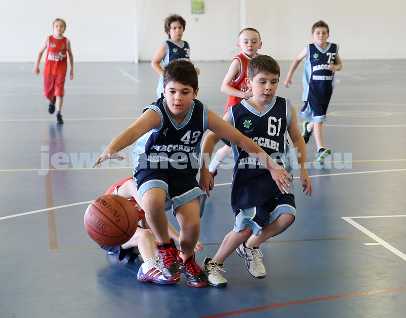 Maccabi Jets under 10 boys basketball team defeated  the Bronte Bulls 18-12 at Waverley. Adiel Goldberg and Noah Aizenstros go for the ball.