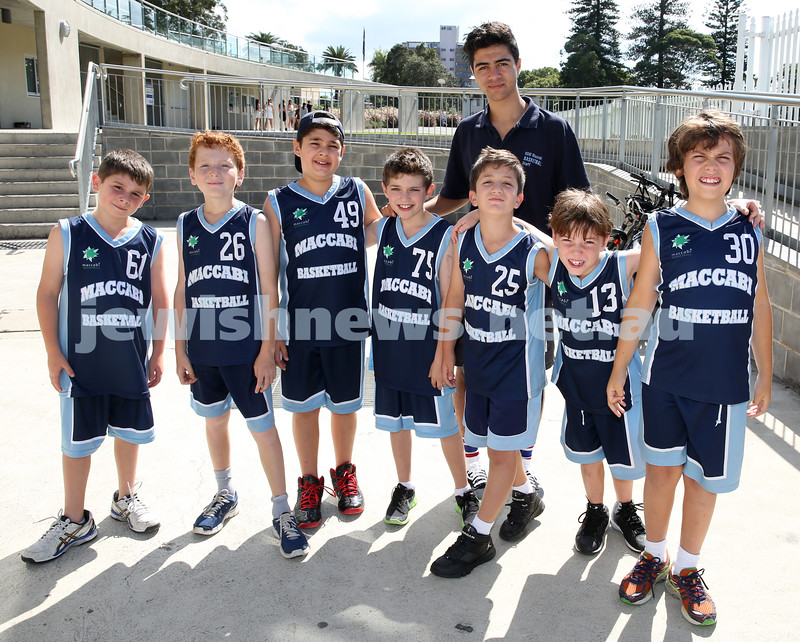 Maccabi Jets under 10 boys basketball team defeated  the Bronte Bulls 18-12 at Waverley. Team pic with coach Oren Stern. Noah Aizenstros, Levi Jacobs, Adiel Goldberg, Ben Todes, Robbie Kaplan, Joel Rusanow, Toby Akres, Tim Dunkel.