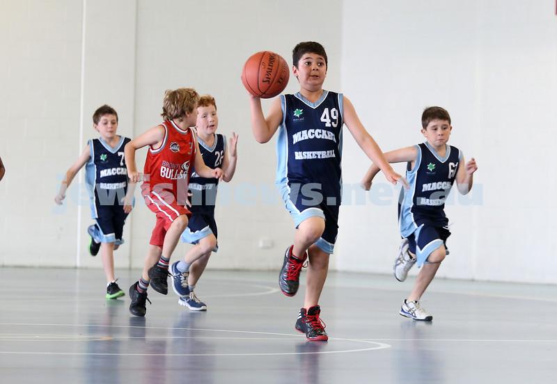 Maccabi Jets under 10 boys basketball team defeated  the Bronte Bulls 18-12 at Waverley. Adiel Goldberg races towards the basket followed by Noah Aizenstros (R).